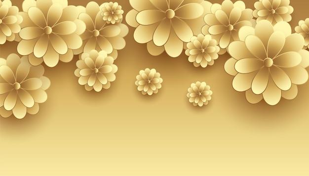 Fundo decorativo premium com flores douradas em 3d