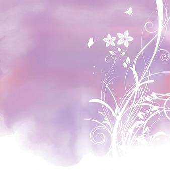 Fundo decoratve aguarela com design floral
