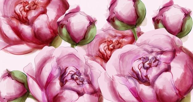 Fundo delicado de flores de peônia