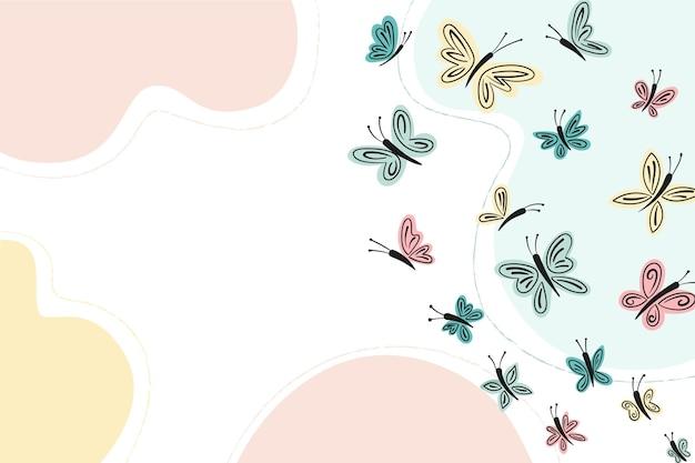 Fundo desenhado à mão com contorno de borboleta fofa
