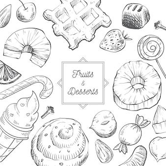 Fundo desenhado à mão com frutas e sobremesas