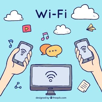 Fundo desenhado à mão com sinal wifi e dispositivos eletrônicos
