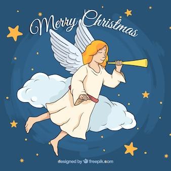 Fundo desenhado à mão com um anjo de natal tocando a flauta