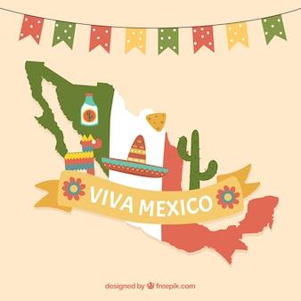 Fundo desenhado à mão da bandeira mexicana
