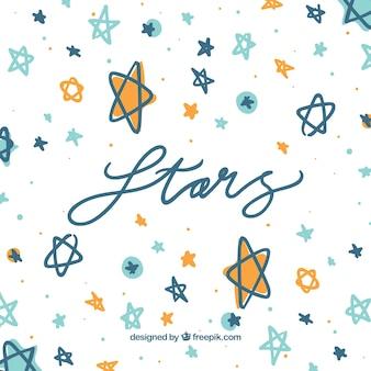 Fundo desenhado à mão da estrela com letras