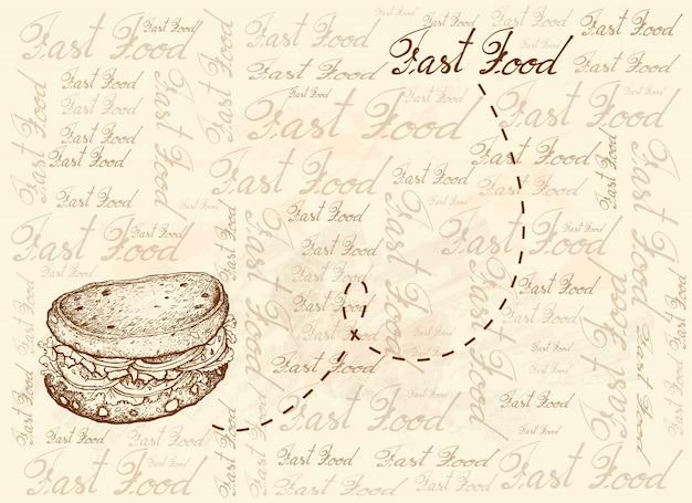 Fundo desenhado à mão de sanduíche de pão integral