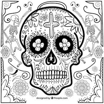 Fundo desenhado à mão do crânio mexicano