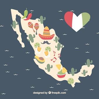 Fundo desenhado a mão do mapa mexicano com elementos