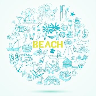 Fundo desenhado à mão dos elementos da praia