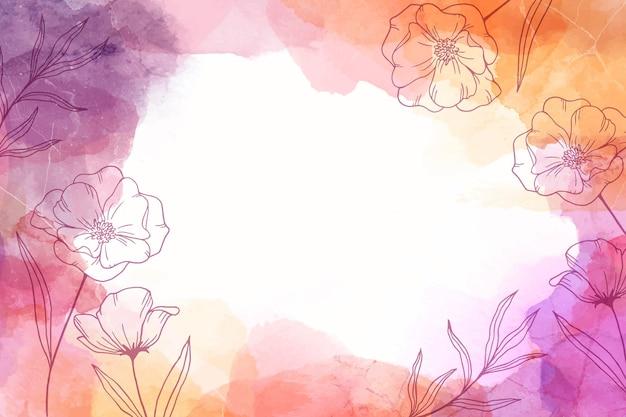 Fundo desenhado à mão em aquarela com flores
