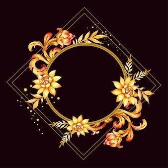 Fundo desenhado à mão em aquarela com folhas douradas e flores decorativas