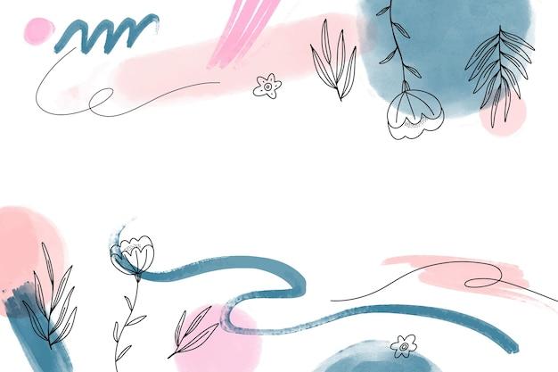 Fundo desenhado à mão em aquarela com plantas