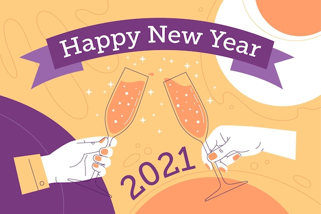 Fundo desenhado à mão para o ano novo de 2021