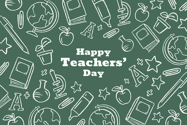 Fundo desenhado à mão para o dia dos professores