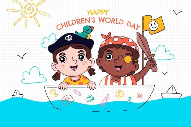 Fundo desenhado à mão para o dia mundial da criança