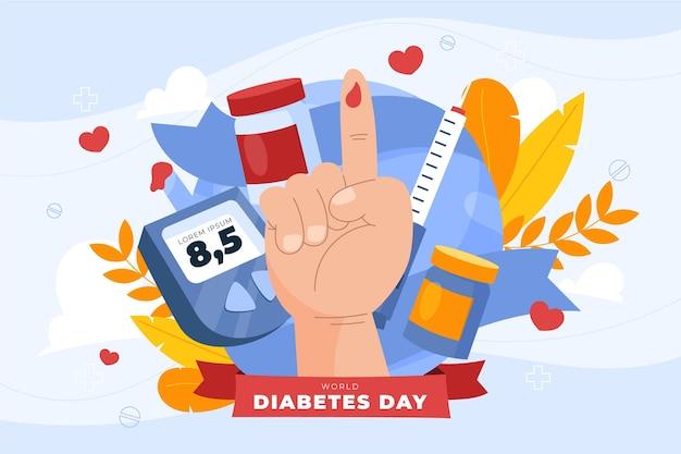 Fundo desenhado à mão para o dia mundial da diabetes