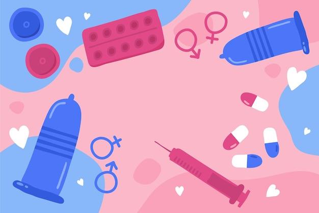 Fundo desenhado à mão para o dia mundial da saúde sexual
