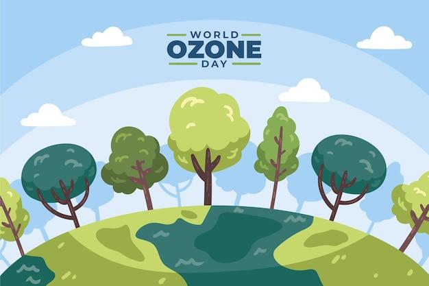 Fundo desenhado à mão para o dia mundial do ozônio