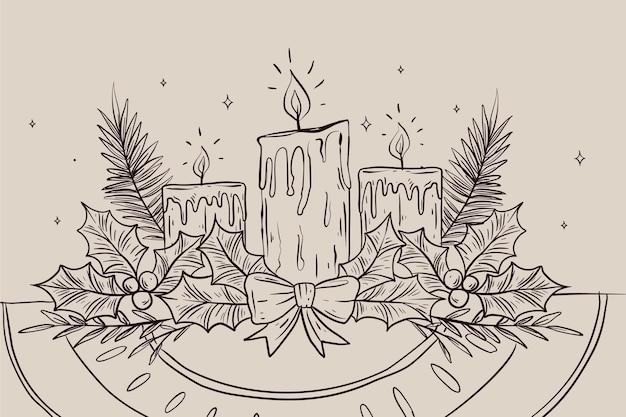 Fundo desenhado à mão para velas de natal