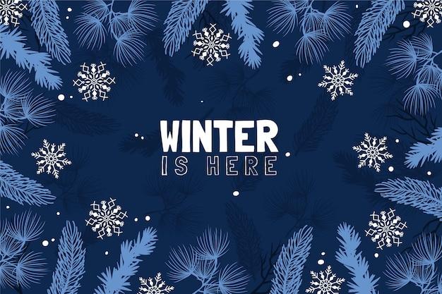 Fundo desenhado com folhas e mensagem de inverno