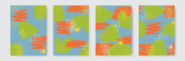 Fundo desenhado de mão. conjunto de formas abstratas desenhadas à mão na moda e elementos de design. fundo abstrato da colagem desenhado mão colorido. pintura artística bonita colorida com elemento de desenho à mão