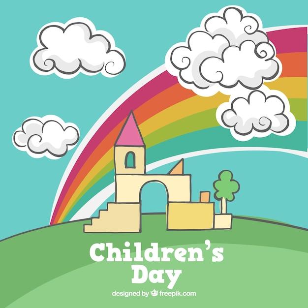 Fundo desenhado mão com arco-íris e do castelo