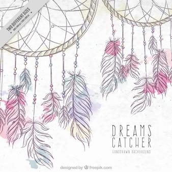 Fundo desenhado mão com dreamcatchers