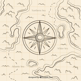 Fundo desenhado mão da bússola do mapa