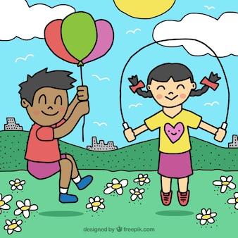 Fundo desenhado mão das crianças que jogam ao ar livre