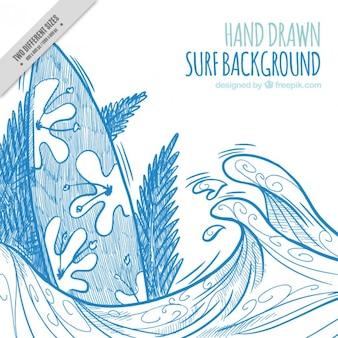 Fundo desenhado mão de surf na cor azul