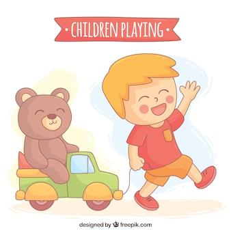Fundo desenhado mão do menino alegre brincando com seu urso de peluche