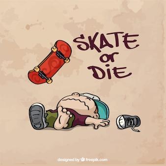 Fundo desenhado mão skater com a frase