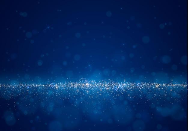 Fundo desfocado abstrato com brilho de luz, bokeh e partículas brilhantes. efeitos de iluminação do flash.