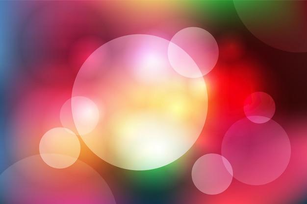 Fundo desfocado abstrato com círculos de cores brilhantes neon