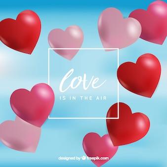 Fundo desfocado com balões de coração vermelho