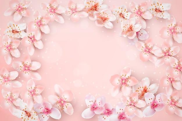 Fundo desfocado com moldura de flor de cerejeira