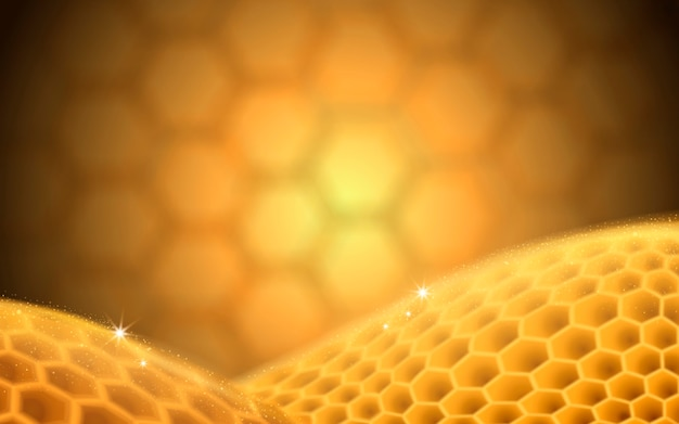 Fundo desfocado de colmeia dourada com elementos de favo de mel