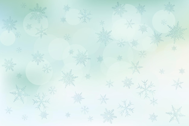 Fundo desfocado de inverno com flocos de neve cenário de férias de inverno
