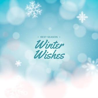 Fundo desfocado de inverno com mensagem