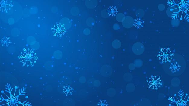 Fundo desfocado flocos de neve