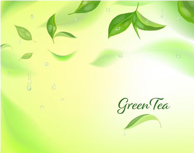 Fundo detalhado alto com folhas de chá verde em movimento. folhas de chá turva.
