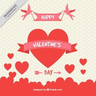 Fundo dia dos namorados bonita com corações e pontos
