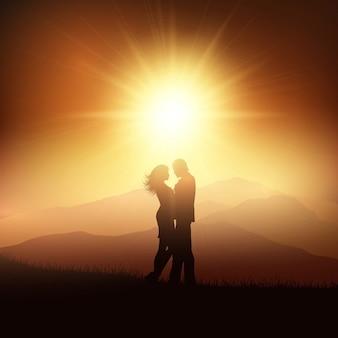 Fundo dia dos namorados com a silhueta de um casal em uma paisagem por do sol