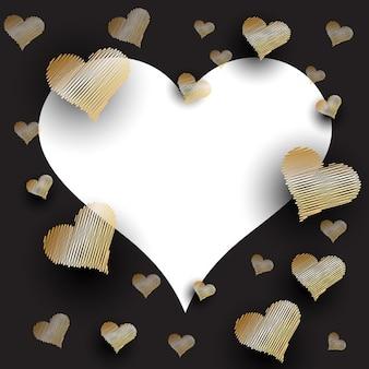 Fundo dia dos namorados com corações rabiscadas