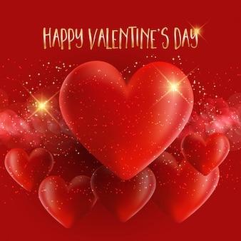 Fundo dia dos namorados com design 3d corações