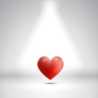 Fundo dia dos namorados com um coração sob um foco de luz