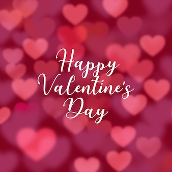 Fundo dia dos namorados de corações com efeito borrado