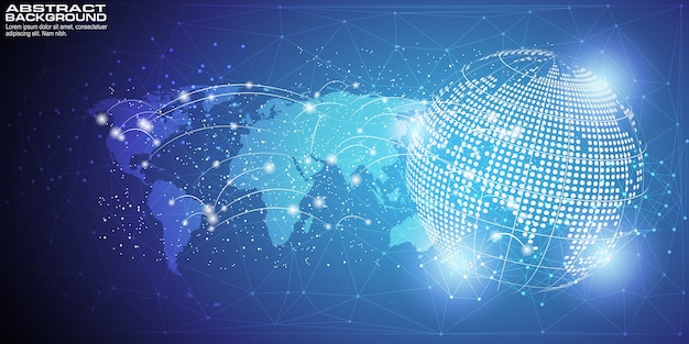 Fundo digital com conexão de rede global de ponto de mapa do mundo