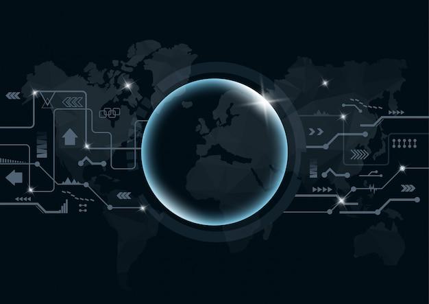 Fundo digital com conexão de rede global do ponto no mundo.
