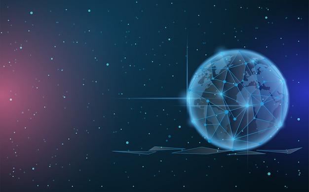 Fundo digital com galáxia de ilustração digital globo azul